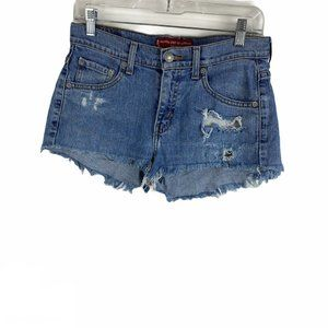 Levis Light Cut Off Distressed Frayed Cheeky Short